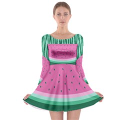 Watermelon Long Sleeve Skater Dress by olgart