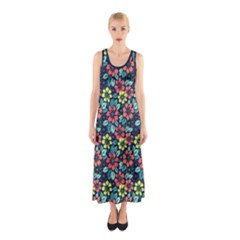 Tropical Flowers Sleeveless Maxi Dress by olgart