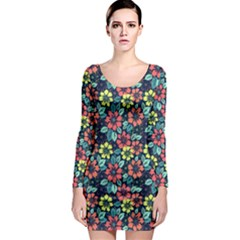 Tropical Flowers Long Sleeve Bodycon Dress by olgart