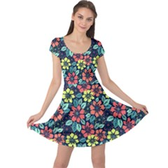 Tropical flowers Cap Sleeve Dresses by olgart