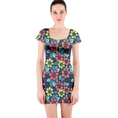 Tropical flowers Short Sleeve Bodycon Dress by olgart