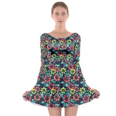 Tropical Flowers Long Sleeve Skater Dress by olgart