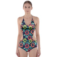 Tropical flowers Cut-Out One Piece Swimsuit by olgart