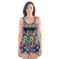Tropical flowers Skater Dress Swimsuit by olgart
