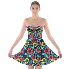 Tropical Flowers Strapless Dresses by olgart