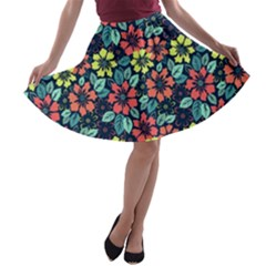 Tropical Flowers A Line Skater Skirt by olgart