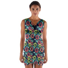 Tropical Flowers Wrap Front Bodycon Dress