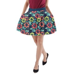 Tropical Flowers A Line Pocket Skirt by olgart