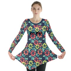 Tropical Flowers Long Sleeve Tunic  by olgart