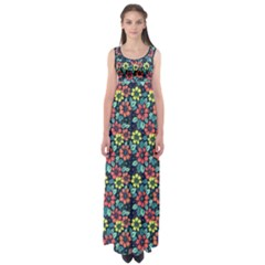 Tropical Flowers Empire Waist Maxi Dress by olgart