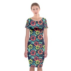 Tropical Flowers Classic Short Sleeve Midi Dress by olgart