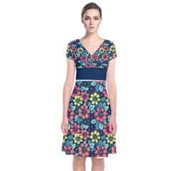 Tropical Flowers Short Sleeve Front Wrap Dress by olgart