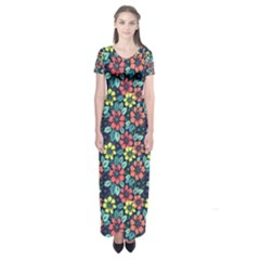Tropical Flowers Short Sleeve Maxi Dress by olgart