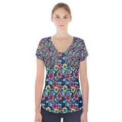 Tropical flowers Short Sleeve Front Detail Top by olgart