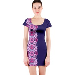 Floral Chic Short Sleeve Bodycon Dress by olgart