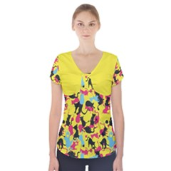 Camouflage Color Short Sleeve Front Detail Top by Wanni