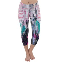 Graffiti Grunge Love Capri Winter Leggings  by ArtistRoseanneJones