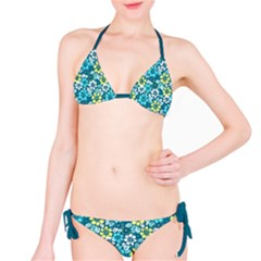 Tropical flowers Menthol color Bikini Set by olgart
