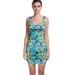 Tropical flowers Menthol color Sleeveless Bodycon Dress by olgart