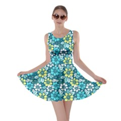 Tropical Flowers Menthol Color Skater Dress by olgart