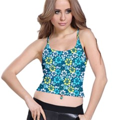 Tropical Flowers Menthol Color Spaghetti Strap Bra Top by olgart