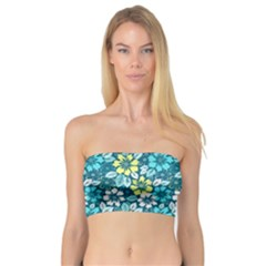 Tropical Flowers Menthol Color Bandeau Top by olgart