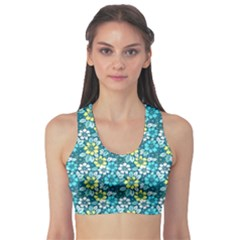 Tropical Flowers Menthol Color Sports Bra by olgart