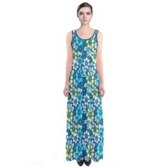 Tropical flowers Menthol color Sleeveless Maxi Dress by olgart