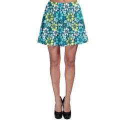 Tropical flowers Menthol color Skater Skirt by olgart