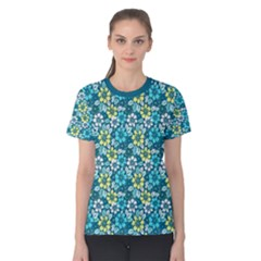 Tropical Flowers Menthol Color Women s Cotton Tee by olgart