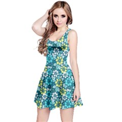 Tropical Flowers Menthol Color Reversible Sleeveless Dress