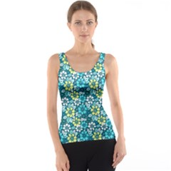 Tropical Flowers Menthol Color Tank Top by olgart