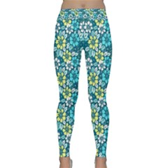Tropical Flowers Menthol Color Yoga Leggings by olgart