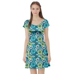 Tropical Flowers Menthol Color Short Sleeve Skater Dress by olgart