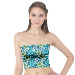Tropical flowers Menthol color Tube Top by olgart
