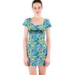 Tropical flowers Menthol color Short Sleeve Bodycon Dress by olgart