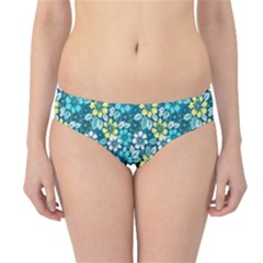 Tropical Flowers Menthol Color Hipster Bikini Bottoms