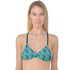 Tropical flowers Menthol color Reversible Tri Bikini Top by olgart
