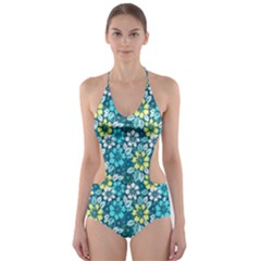 Tropical Flowers Menthol Color Cut Out One Piece Swimsuit by olgart