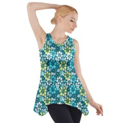 Tropical flowers Menthol color Side Drop Tank Tunic by olgart