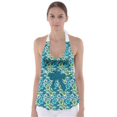 Tropical Flowers Menthol Color Babydoll Tankini Top by olgart