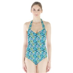 Tropical flowers Menthol color Halter Swimsuit by olgart