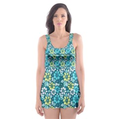 Tropical flowers Menthol color Skater Dress Swimsuit by olgart