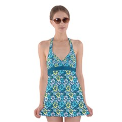 Tropical Flowers Menthol Color Halter Swimsuit Dress by olgart