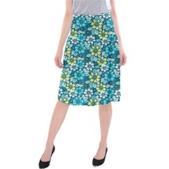 Tropical Flowers Menthol Color Midi Beach Skirt by olgart