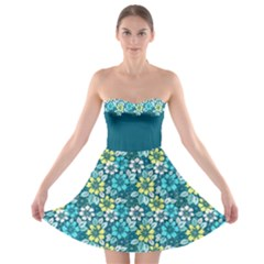 Tropical Flowers Menthol Color Strapless Dresses by olgart