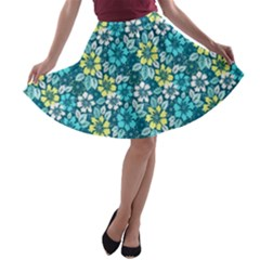 Tropical Flowers Menthol Color A Line Skater Skirt