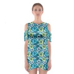 Tropical Flowers Menthol Color Cutout Shoulder Dress by olgart