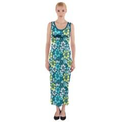 Tropical Flowers Menthol Color Fitted Maxi Dress by olgart