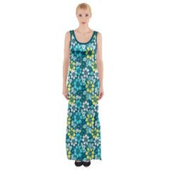 Tropical Flowers Menthol Color Maxi Thigh Split Dress by olgart